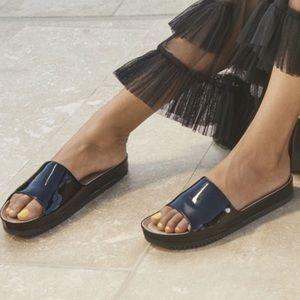 UGG Jane Patent Leather Black Slides Sandals